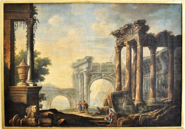 """353: """"Capriccio"""" Roman Ruins O/C, 19th C."""