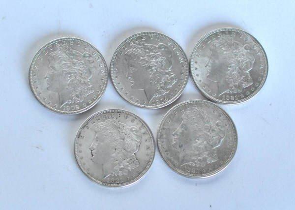 5: Group of 5 US Morgan Silver Dollars