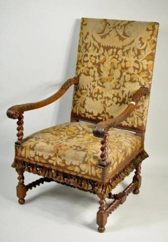 Louis XIV Style Carved Walnut Open Arm Chair