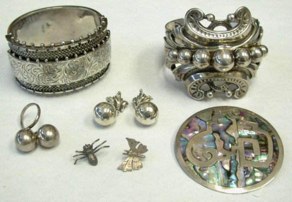 8: Two Bracelets, Pair Earrings, Ring and Three Pins