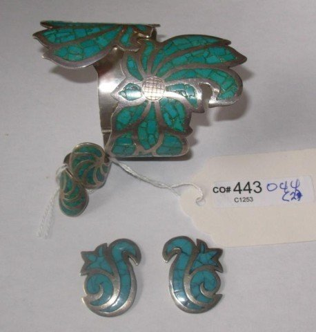 11: Silver & Turquoise Bracelet, Ring, & Pair Earrings