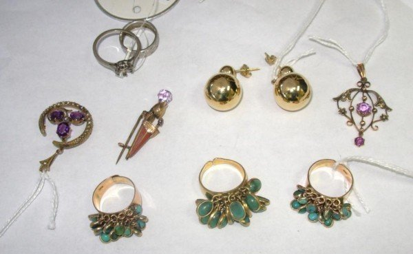 17: Group of Earrings, Rings, Pins, Lavaliere