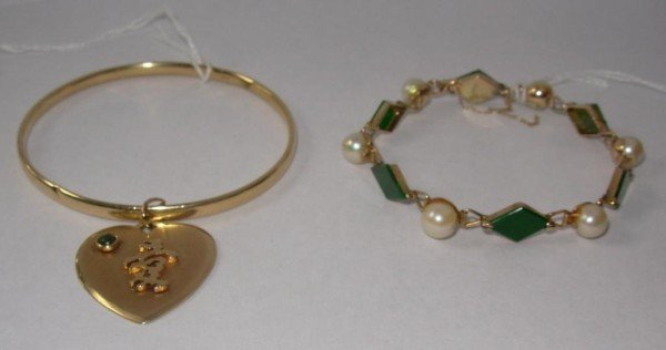 20: Two 14K Gold Bracelets, 1 Jade, 1 with Charms
