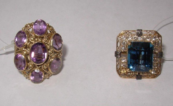 21: Two Gold Rings, 1 Amethyst, 1 Topaz