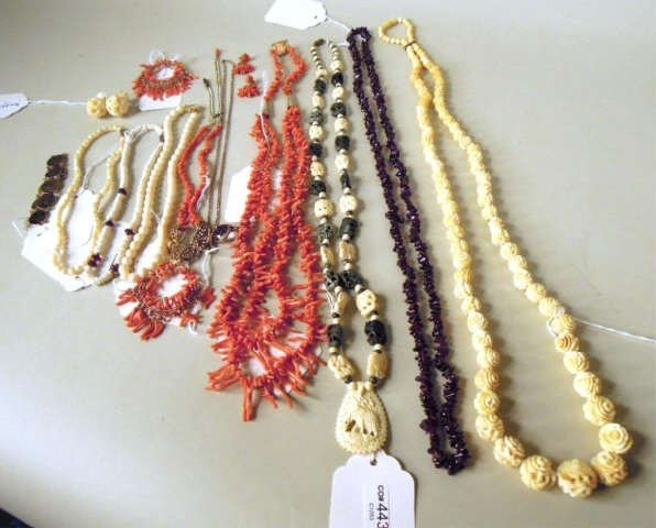 22: Group of Ten Necklaces and One Pair Earrings