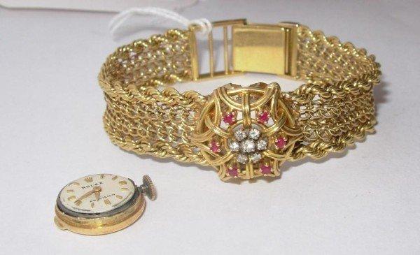 33: Lady's 18K Gold Wristwatch, Rolex Movement