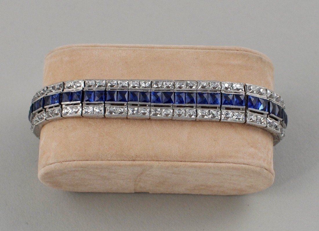 44: Art Deco Platinum, Diamond & Sapphire Bracelet