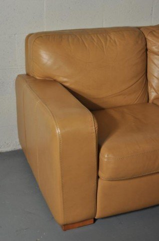 263: Modern Caramel Leather Curved Sectional Sofa - 2