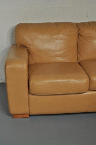 263: Modern Caramel Leather Curved Sectional Sofa - 3