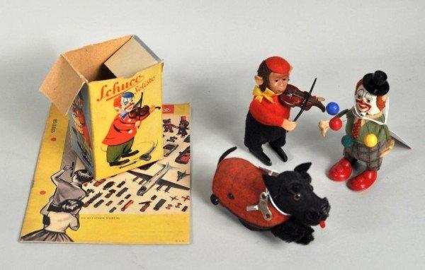 307: Vintage Schuco Toys, Clown, Dog, Monkey w/Booklet