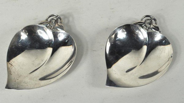 2: Pair Tiffany Sterling Candy Dishes, Apple Shape