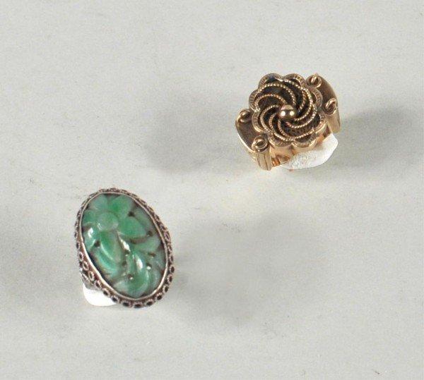 3: Gold Signet Ring & Jade/Sterling Ring