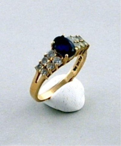 13: 14K Gold Blue Sapphire and CZ Ring