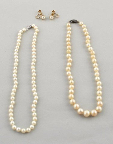 20: Two Genuine Cultured Pearl Necklaces with Earrings