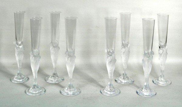 "21: Set Eight Erte ""Majestique"" Champagne Flutes"
