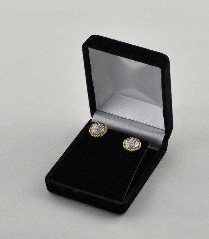22: Pair 14K Yellow & White Gold Pave Diamond Earrings