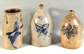 Group Three Decorated Stoneware Items