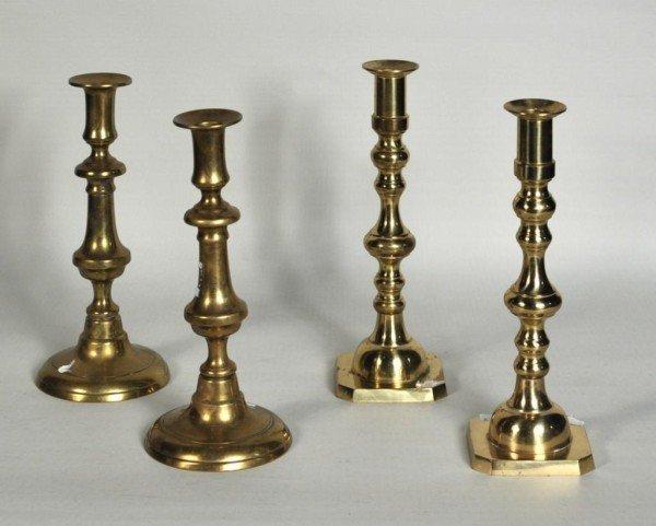 169: Two Pair Antique Brass Candlesticks