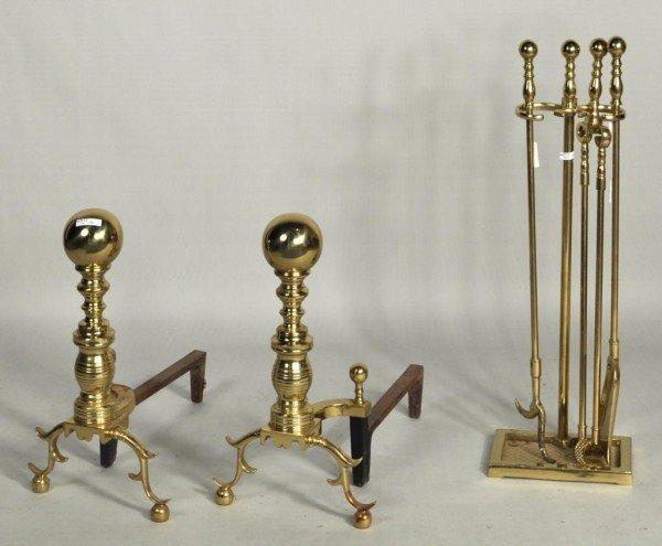 175: Pair Brass Andirons, Four Piece Brass Fire Tools