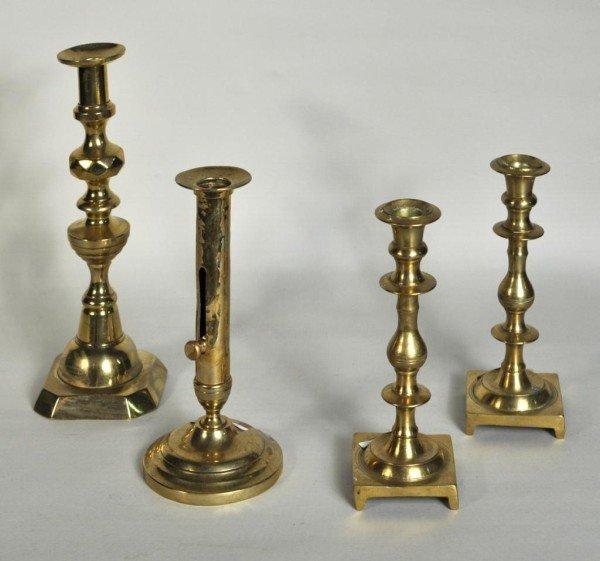 179: Four Antique Brass Candlesticks, Two a Pair