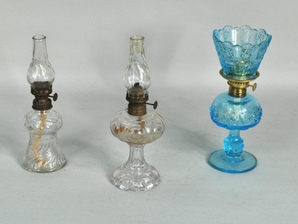 183: Group Three Small Glass Oil Lamps