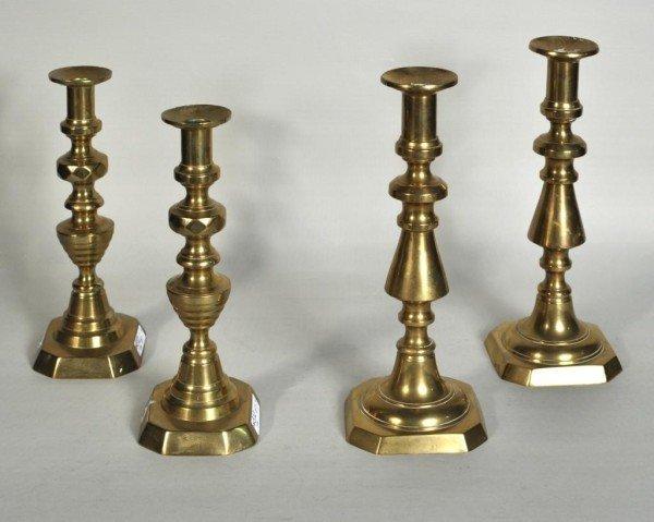 185: Two Pair Antique Brass Candlesticks