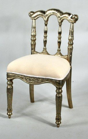 186: Continental Silvered Side Chair