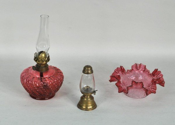 """189: Rare Small """"Baby"""" Clear Glass Oil Lamp"""