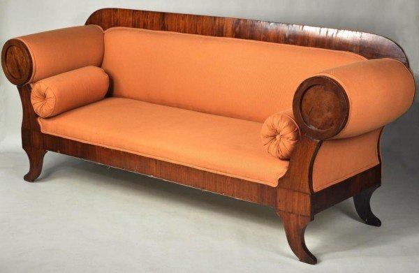 192: Continental Biedermeier Walnut Neoclassical Sofa