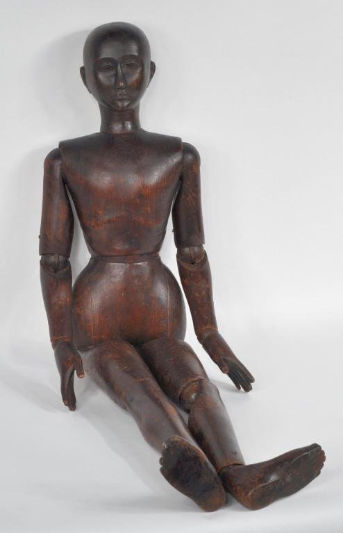 11: Antique Large Carved Wooden Jointed Artist Figure