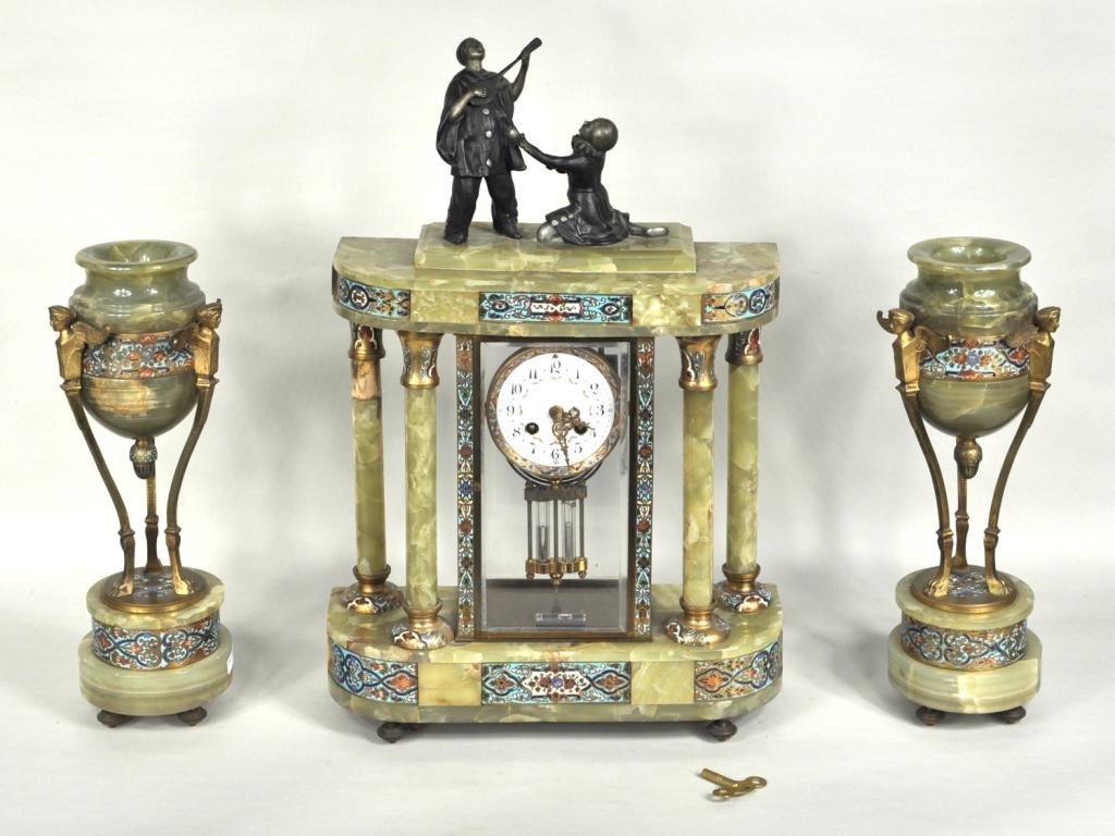13: Lardot and Boyon French Marble Clock Garniture