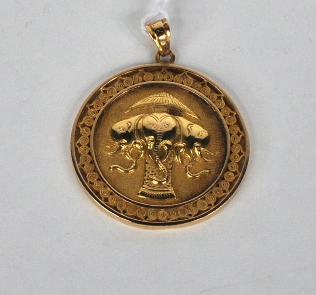 15: 18K Gold Asian Design Pendant