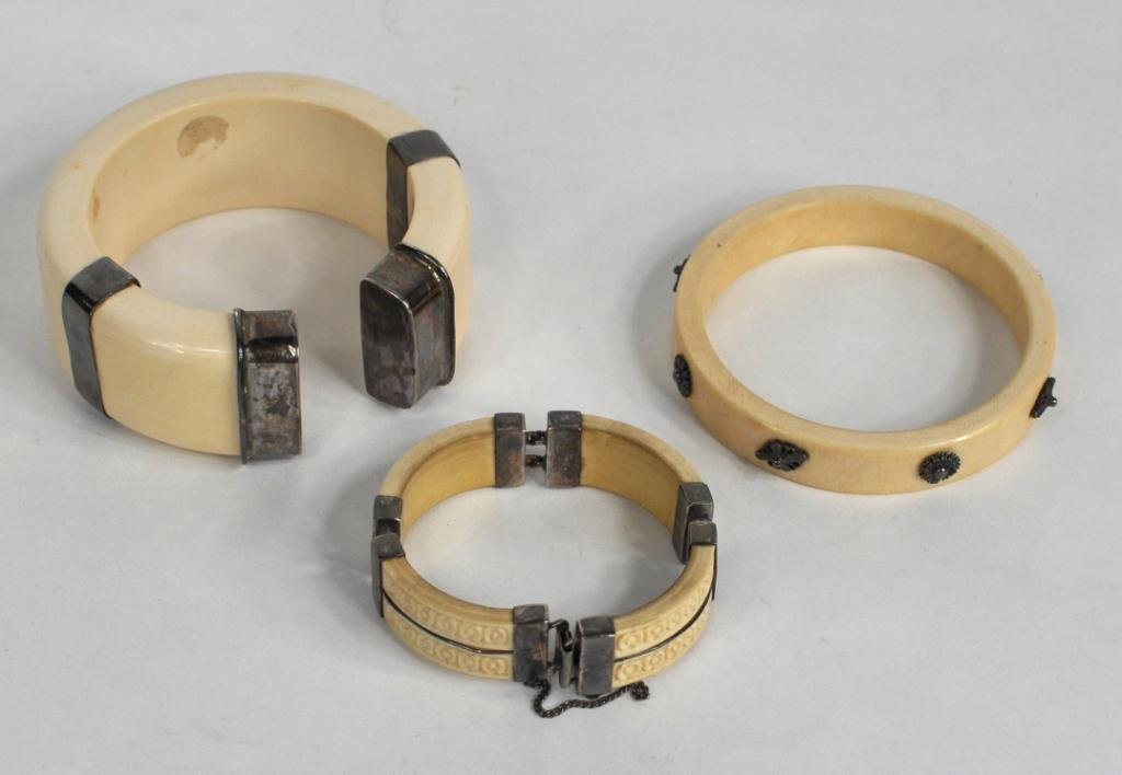 19: Group of Three Silver Mounted Bangles