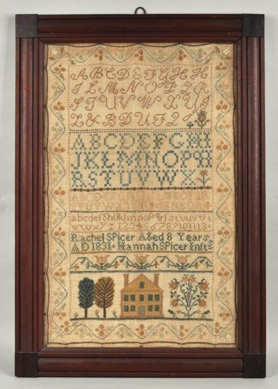 25: Framed American Sampler - Rachel Spicer 1831