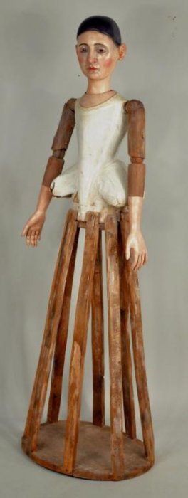 Rare Life Size 18th Century Continental Cage Doll