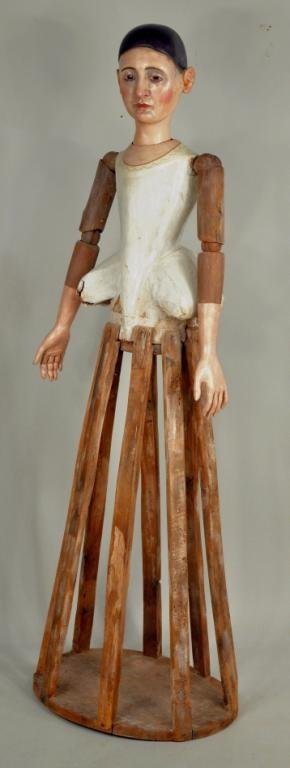30: Rare Life Size 18th Century Continental Cage Doll