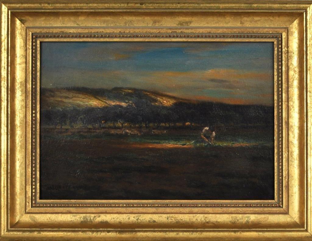 32: John Carleton Wiggins, Framed O/B Landscape Scene
