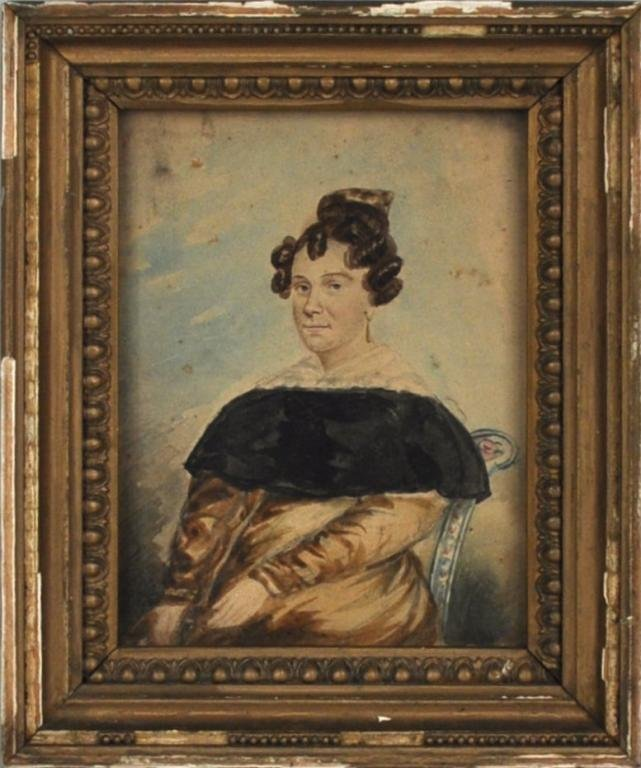 34: Small Folk Art Portrait of Lady