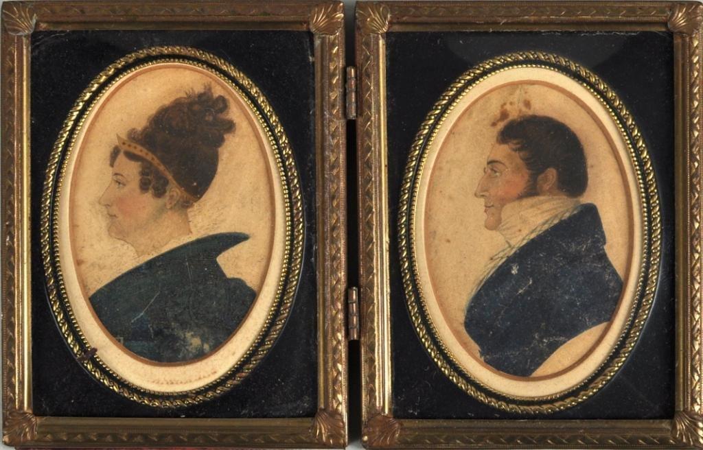 46: Pair Cased Framed Portrait Miniatures