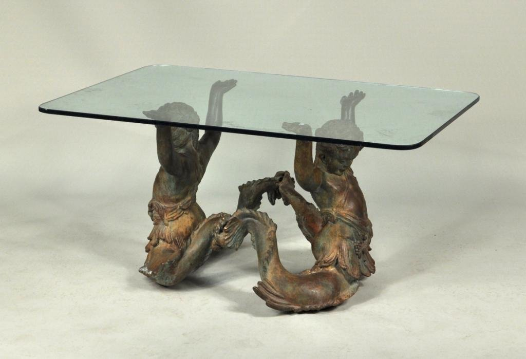 patinated cast bronze/glass mermaid coffee table