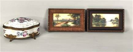 300 Pair of Small Framed Painted Porcelain Plaques