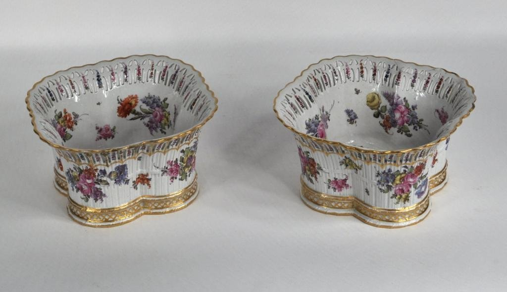 3: Pair Paris Porcelain Reticulated Pots