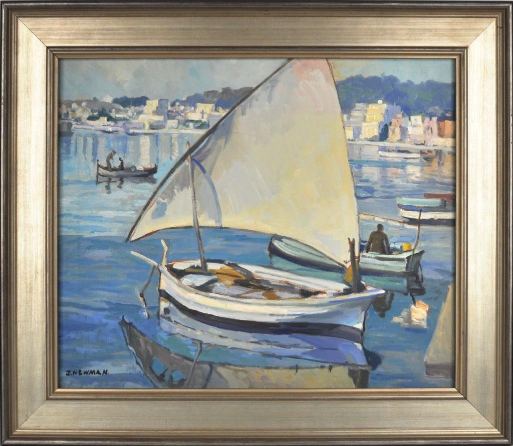 8: Joseph Newman, Untitled (Harbor Boating Scene)