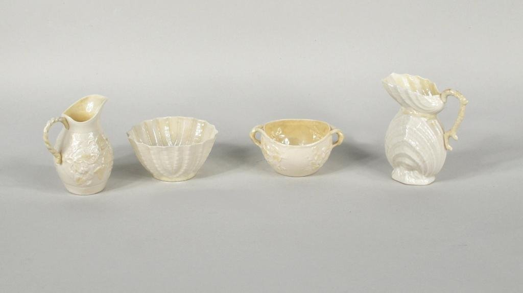 17: Group Four Pieces Irish Belleek Porcelain