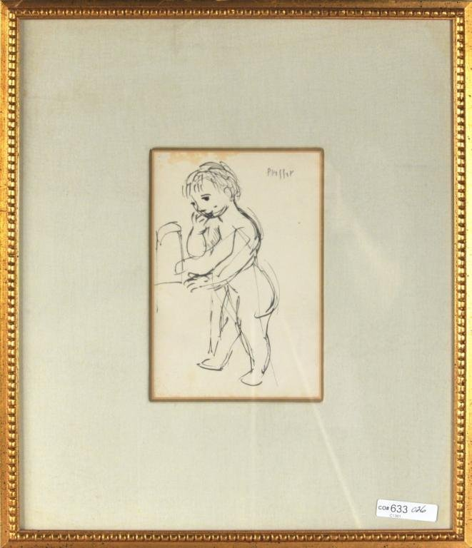 20: Josef Presser, Sketch of a Young Boy Standing