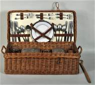 Vintage Coracle Wicker Picnic Basket