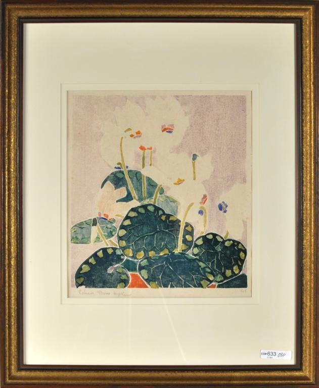 318: Edna Hopkins, Framed Woodblock Print