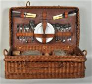 Vintage Wicker Picnic Case