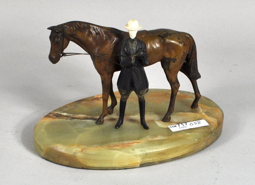 4: Ivory & Polychromed Bronze Figure of Horse & Rider