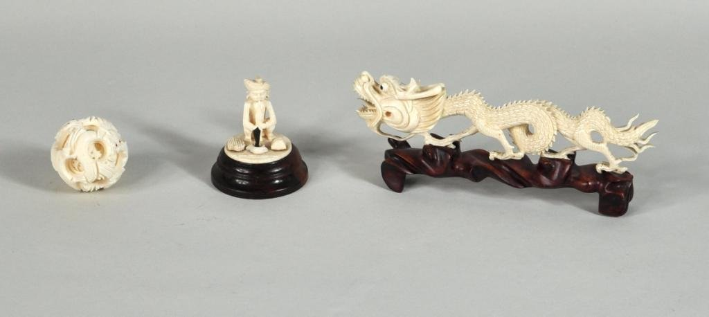 8: Group Three Asian Carved Ivory Items